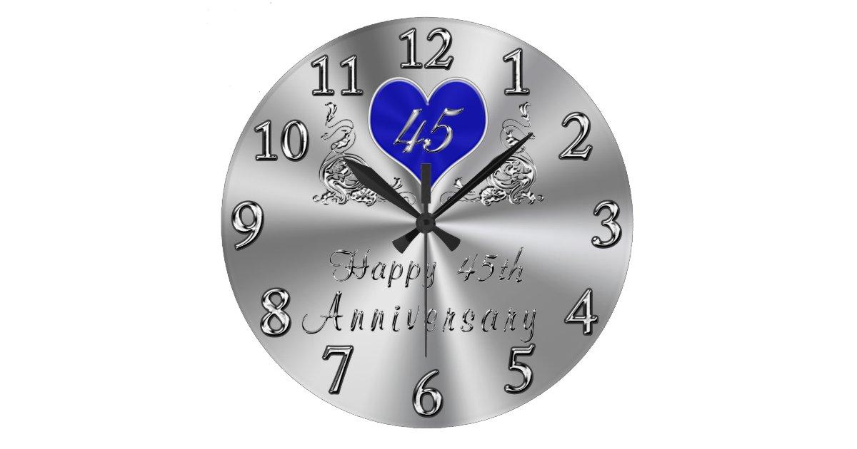 45 Year Wedding Anniversary Gifts Sapphire CLOCK Zazzle