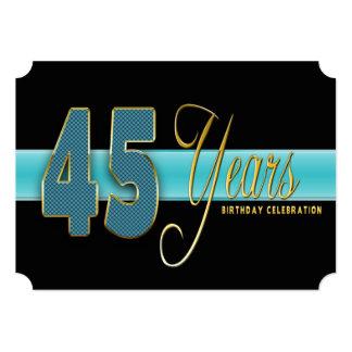 45 YEARS BIRTHDAY PARTY INVITATION AQUA/BLACK