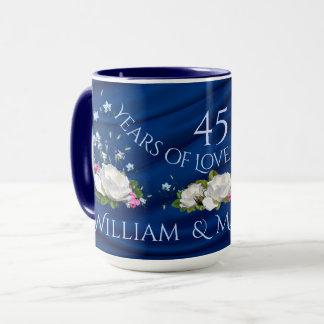 45 Years of Love Anniversary White Roses Custom Mug