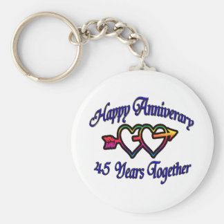 45 Years Together Basic Round Button Keychain