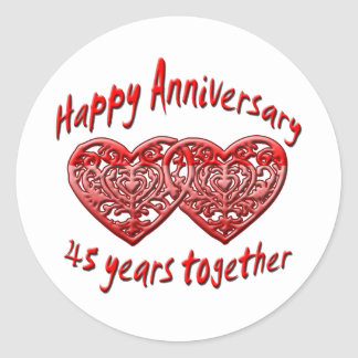 45 Years Together Classic Round Sticker