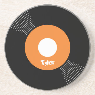 45s Record Coaster (Orange) CUSTOMIZABLE