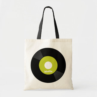 45s Record Tote (Lime) CUSTOMIZABLE Canvas Bag