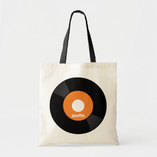 45s Record Tote (Orange) CUSTOMIZABLE