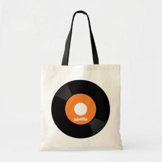 45s Record Tote (Orange) CUSTOMIZABLE Canvas Bags