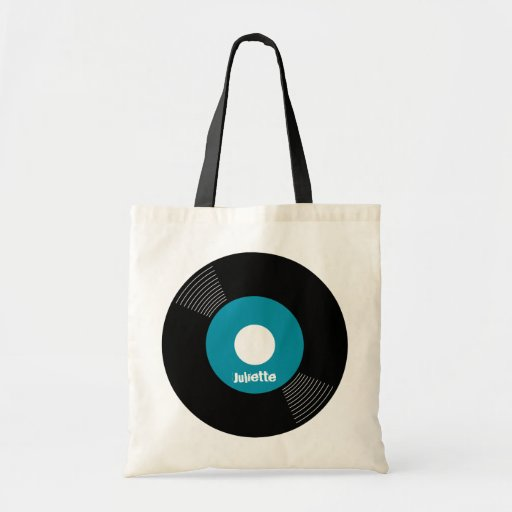 45s Record Tote (Teal) CUSTOMIZABLE Bag