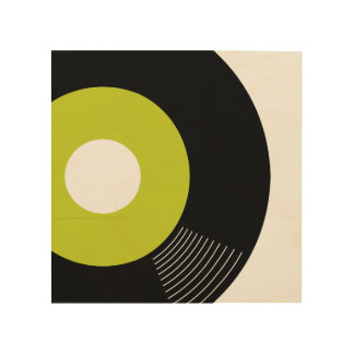 45s Record Wood Sign Lime 8x8 Wood Canvas