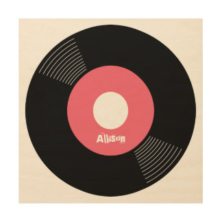 45s Record Wood Sign Pink 12x12 CUSTOMIZABLE Wood Canvas