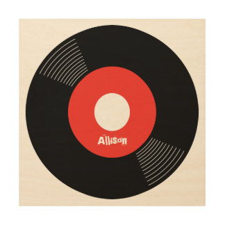 45s Record Wood Sign Red 12x12 CUSTOMIZABLE Wood Canvas