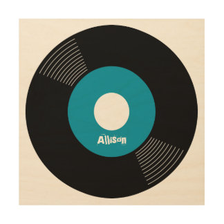 45s Record Wood Sign Teal 12x12 CUSTOMIZABLE Wood Canvas