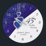 "45th / 65th Sapphire Wedding Anniversary Keepsake Large Clock<br><div class=""desc"">Personalize Clock. 45th or 65th Sapphire Wedding Anniversary Keepsake. 100% Customizable. Ready to Fill in the box(es) or Click on the CUSTOMIZE button to add, move, delete, resize or change any of the font or graphics. Made with high resolution vector and/or digital graphics for a professional print. NOTE: (THIS IS...</div>"