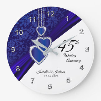 45th / 65th Sapphire Wedding Anniversary Keepsake Large Clock
