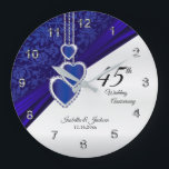 """45th / 65th Sapphire Wedding Anniversary Keepsake Large Clock<br><div class=""""desc"""">Personalize Clock. 45th or 65th Sapphire Wedding Anniversary Keepsake. ⭐ This Product is 100% Customizable. 99% of my designs in my store are done in layers. This makes it easy for you to resize and move the graphics and text around so that it will fit each product perfectly. Some of...</div>"""