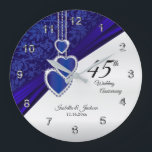 """45th / 65th Sapphire Wedding Anniversary Keepsake Large Clock<br><div class=""""desc"""">Personalize Clock. 45th or 65th Sapphire Wedding Anniversary Keepsake. 100% Customizable. Ready to Fill in the box(es) or Click on the CUSTOMIZE button to add, move, delete, resize or change any of the font or graphics. Made with high resolution vector and/or digital graphics for a professional print. NOTE: (THIS IS...</div>"""