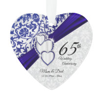 45th / 65th Sapphire Wedding Anniversary Keepsake Ornament