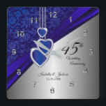 "45th / 65th Sapphire Wedding Anniversary Keepsake Square Wall Clock<br><div class=""desc"">Personalize Clock. 45th Sapphire Wedding Anniversary Keepsake ready for you to personalize. ⭐This Product is 100% Customizable. Graphics and / or text can be added, deleted, moved, resized, changed around, rotated, etc... 99% of my designs in my store are done in layers. This makes it easy for you to resize...</div>"