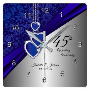 69896092e 45th / 65th Sapphire Wedding Anniversary Keepsake Square Wall Clock