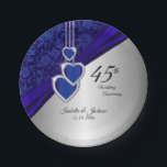 """45th / 65th Sapphire Wedding Anniversary Paper Plate<br><div class=""""desc"""">45th / 65th Sapphire Wedding Anniversary paper plates. ⭐ This Product is 100% Customizable. 99% of my designs in my store are done in layers. This makes it easy for you to resize and move the graphics and text around so that it will fit each product perfectly. Some of the...</div>"""