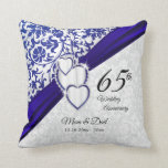 "45th / 65th Sapphire Wedding Anniversary Throw Pillow<br><div class=""desc"">Anniversary Pillows. 45th / 65th Sapphire Wedding Anniversary Design. 100% Customizable. Ready to Fill in the box(es) or Click on the CUSTOMIZE button to add, move, delete, resize or change any of the font or graphics. Made with high resolution vector and/or digital graphics for a professional print. NOTE: (THIS IS...</div>"