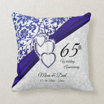 45th / 65th Sapphire Wedding Anniversary Throw Pillow