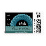 45th Anniversary BLUE Roses Wreath Stamp