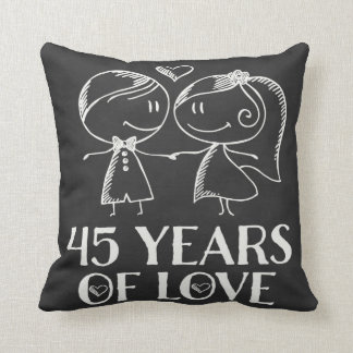 45th Anniversary Couples Chalk Drawn Pillow Gift