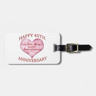 45th. Anniversary Luggage Tag