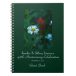 45th Anniversary Party Guest Book, White Daisy Note Book