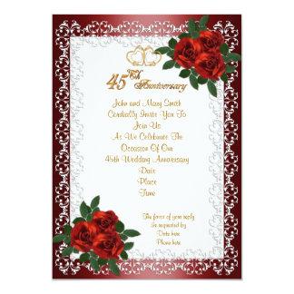 "45th anniversary party invitation red roses 5"" x 7"" invitation card"