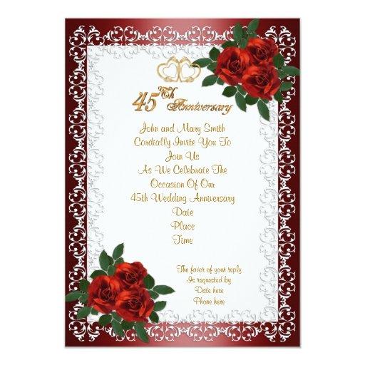 45th anniversary party invitation red roses | Zazzle