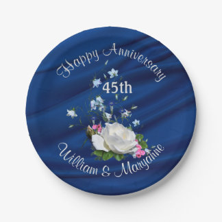 45th Anniversary Party White Rose Sapphire Blue Paper Plate
