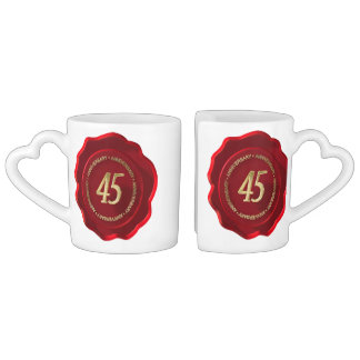 45th anniversary red wax seal coffee mug set