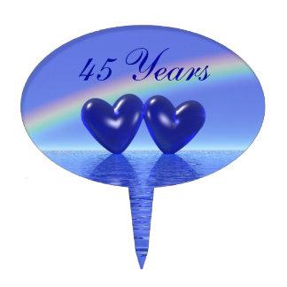 45th Anniversary Sapphire Hearts Cake Picks
