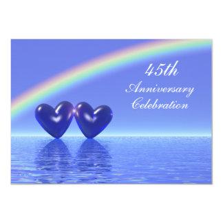 45th Anniversary Sapphire Hearts 4.5x6.25 Paper Invitation Card