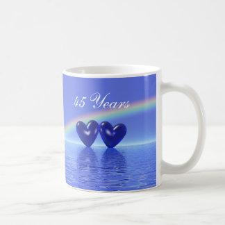 45th Anniversary Sapphire Hearts Coffee Mugs