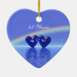 45th Anniversary Sapphire Hearts Double-Sided Heart Ceramic Christmas Ornament