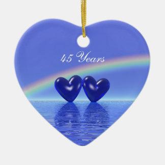 45th Anniversary Sapphire Hearts Christmas Tree Ornaments