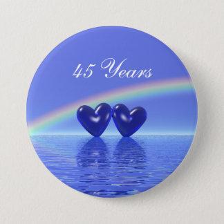 45th Anniversary Sapphire Hearts Pinback Button