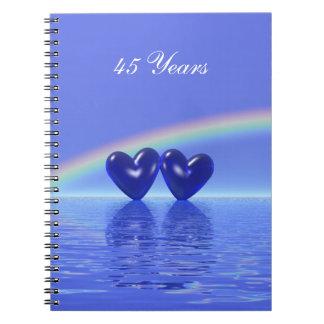 45th Anniversary Sapphire Hearts Spiral Notebook