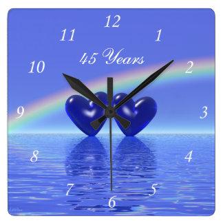 45th Anniversary Sapphire Hearts Square Wall Clock