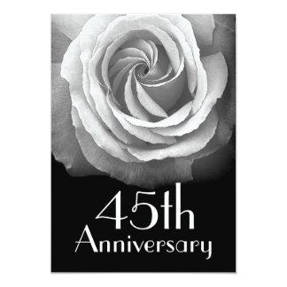 45th Anniversary Silver White Rose Card