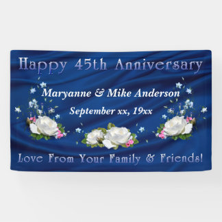 45th Anniversary White Roses and Sapphire Banner