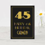 "[ Thumbnail: 45th Birthday – Art Deco Inspired Look ""45"" & Name Card ]"