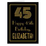 "[ Thumbnail: 45th Birthday: Art Deco Inspired Look ""45"" + Name Card ]"