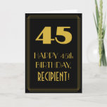 "[ Thumbnail: 45th Birthday ~ Art Deco Inspired Look ""45"" & Name Card ]"