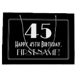 "[ Thumbnail: 45th Birthday: Art Deco Inspired Style ""45"", Name Gift Bag ]"