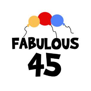 45th Birthday Balloons Fabulous 45 Classic Round Sticker