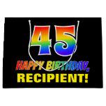 [ Thumbnail: 45th Birthday: Bold, Fun, Simple, Rainbow 45 Gift Bag ]