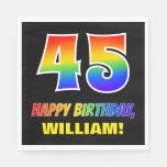 [ Thumbnail: 45th Birthday: Bold, Fun, Simple, Rainbow 45 Napkins ]