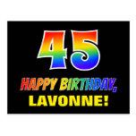 [ Thumbnail: 45th Birthday: Bold, Fun, Simple, Rainbow 45 Postcard ]